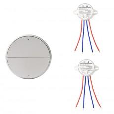Wireless-Lichtschalter 2-fach Silber
