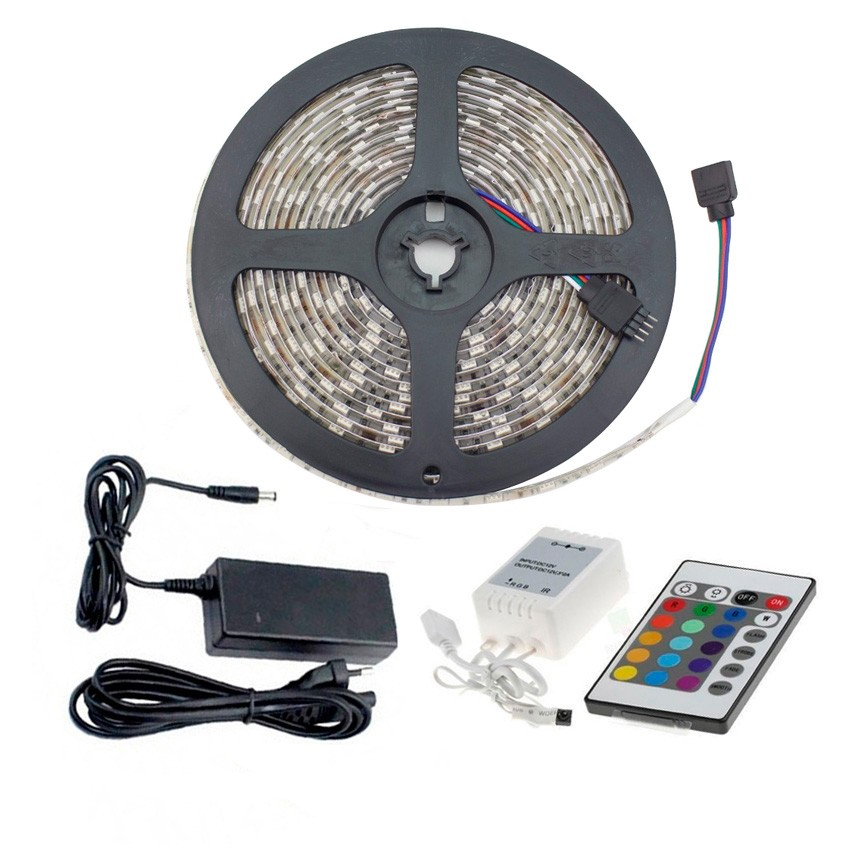 kit led strip 48w 60led m 5m ip65 rgb fernbedinung steuerung und stromversorgung ledkia. Black Bedroom Furniture Sets. Home Design Ideas