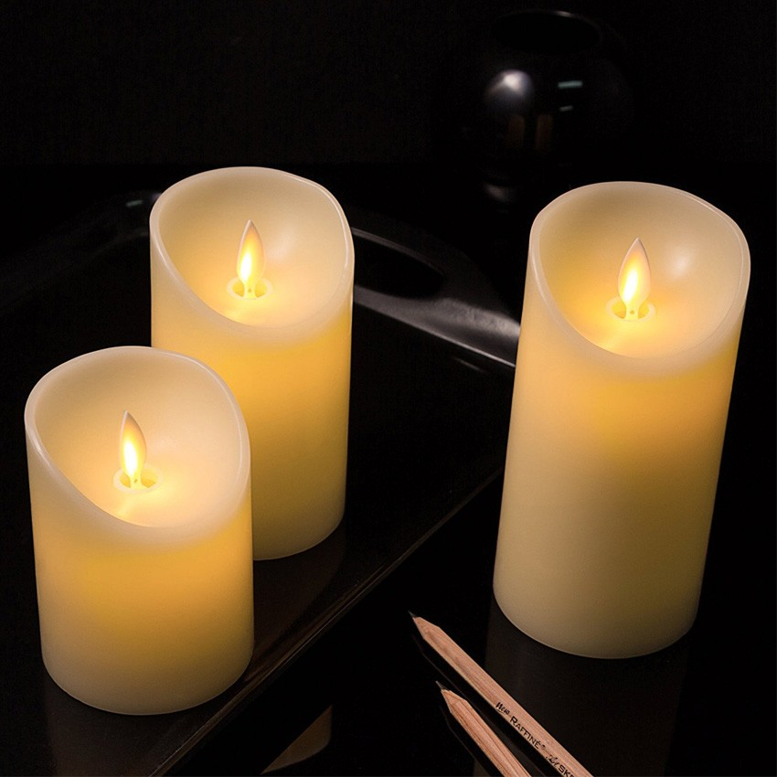 pack de 3 bougies led ivoire sp ciale flamme ledkia france. Black Bedroom Furniture Sets. Home Design Ideas