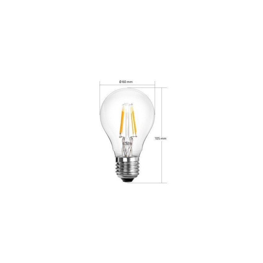 ampoule led e27 dimmable filament classic a60 6w ledkia france. Black Bedroom Furniture Sets. Home Design Ideas