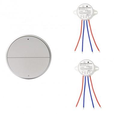 Interrupteur Sans Fil 2 Boutons + 2 Récepteurs Argenté