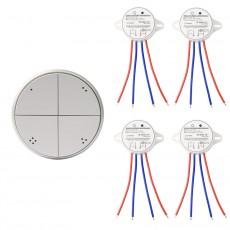 Interrupteur Poussoir Sans Fil 4 Boutons + 4 Récepteurs Argente