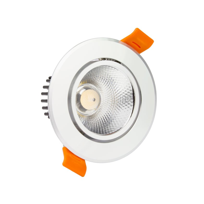 spot led downlight cob orientable rond 3w argent ledkia france. Black Bedroom Furniture Sets. Home Design Ideas