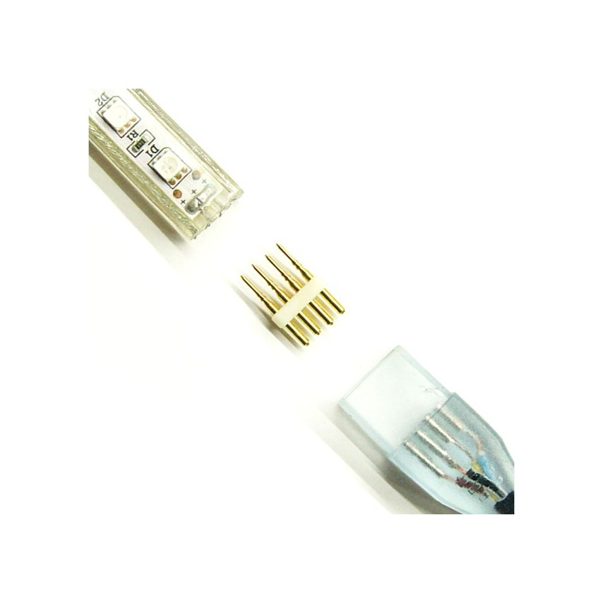 Connecteur 4 pin ruban led rgb 220v smd5050 ledkia france - Connecteur ruban led ...