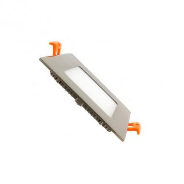 Dalle LED Carrée Extra Plate LED 6W Cadre Argenté