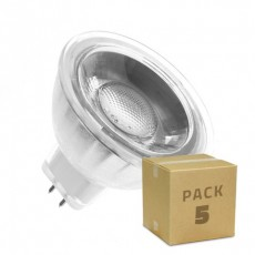 Pack 5 Lámparas LED GU5.3 MR16 COB Cristal 12V 5W