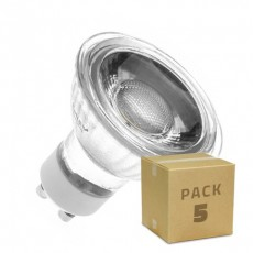 Pack 5 Lámparas LED GU10 COB Cristal 220V 5W