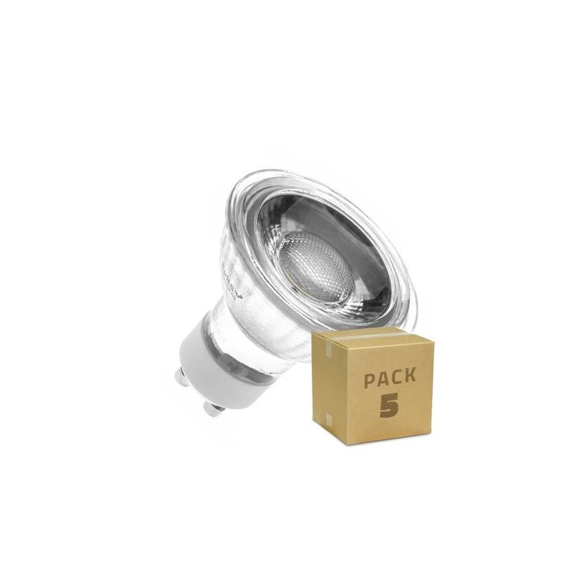 pack 5 ampoules led gu10 cob cristal 45 220v 5w ledkia. Black Bedroom Furniture Sets. Home Design Ideas