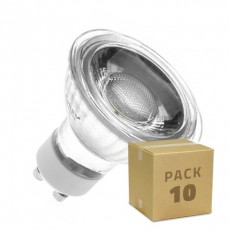 Pack 10 Lámparas LED GU10 COB Cristal 220V 5W