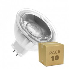 Pack 10 Lámparas LED GU5.3 MR16 COB Cristal 220V 5W