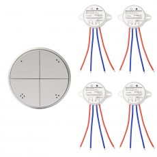 Pulsador Wireless 4 Bandas Plata