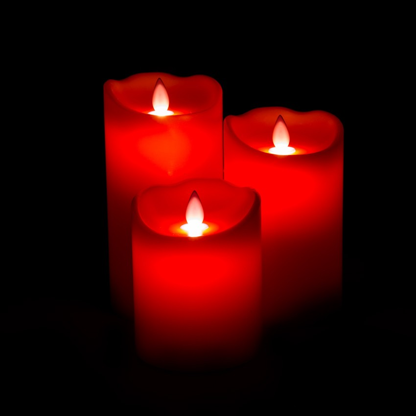 Pack Of 3 Red Led Candles Special Flame Ledkia United